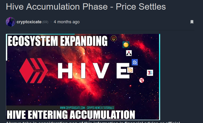 HIVE PRICE ACTION LOOKING BETTER - WHEN CRYPTO MARKET TOP